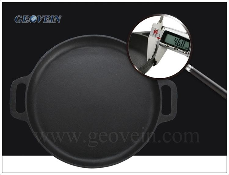 "14"" Home Garden Cast Iron Pizza Pan For Gas Stove Top"