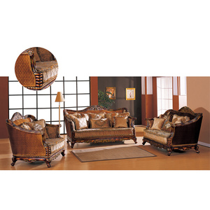 S2925 China Furniture Luxury Arabic sofa handmade carved wood frame living  room furniture sofa set