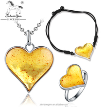 OEM Factory Johnsongem real amber pendant necklace bracelet ring jewelry set wholesale