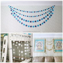 Shining Blue Paper Star Garland Bunting String Hanging Wedding Birthday Party Decoration Baby Shower Ornament