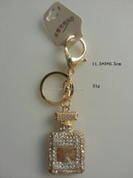wholesale high-end zinc alloy perfume bottle keychain for women or girl hand bag
