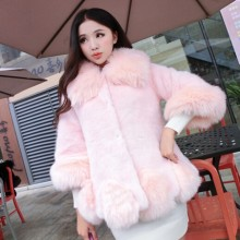 2016 Ladies' Fashion Women's Lolita Winter Pink Mink Fur Coat