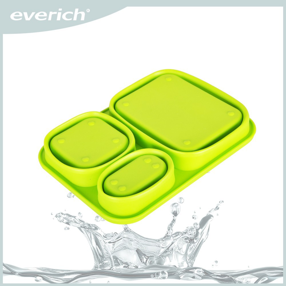 2015 Best selling portable collapsible office silicone lunch box