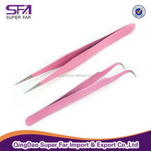 Surgical grade stainless steel pink paint eyelash extension tweezers
