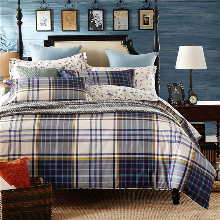 China Supplier High Quality Eco-Friendly 100% Cotton Microfiber Printed Plaid Patchwork Bedding Sets