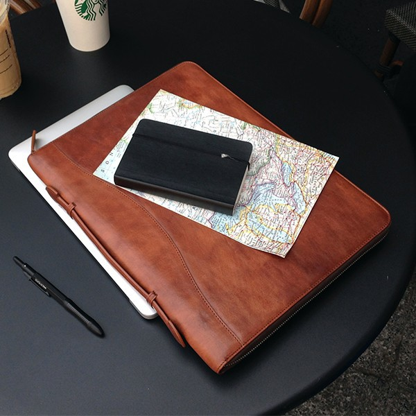 Italian leather portfolio for men - multifuntional and pocket/case for ipad