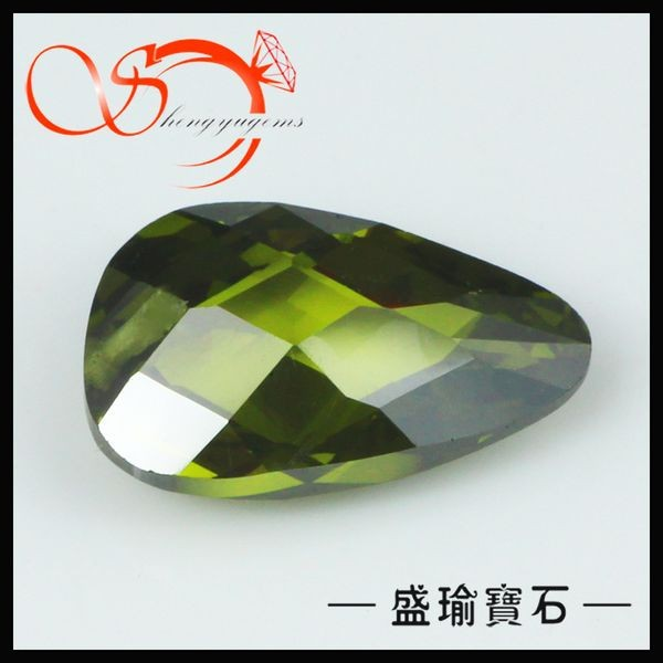 olive pear shape small loose gemstones for memorial crafts CZPS0051