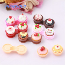 United States best selling eyewear accessories creative Cake shape cartoon cheap color contact lens case&box