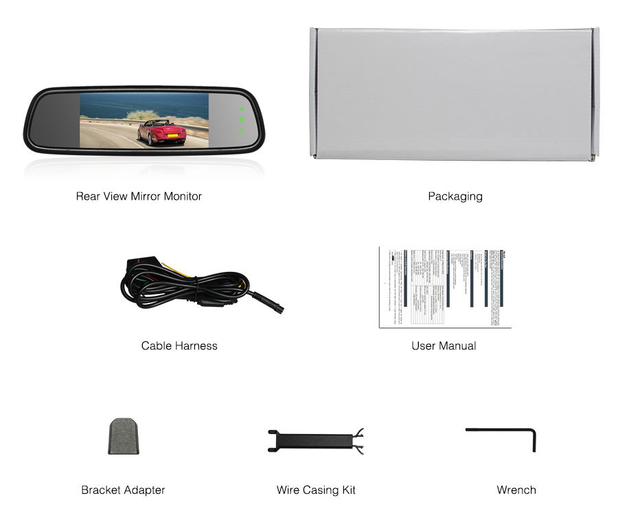 7 inch car rearview mirror touch button car rear view mirror
