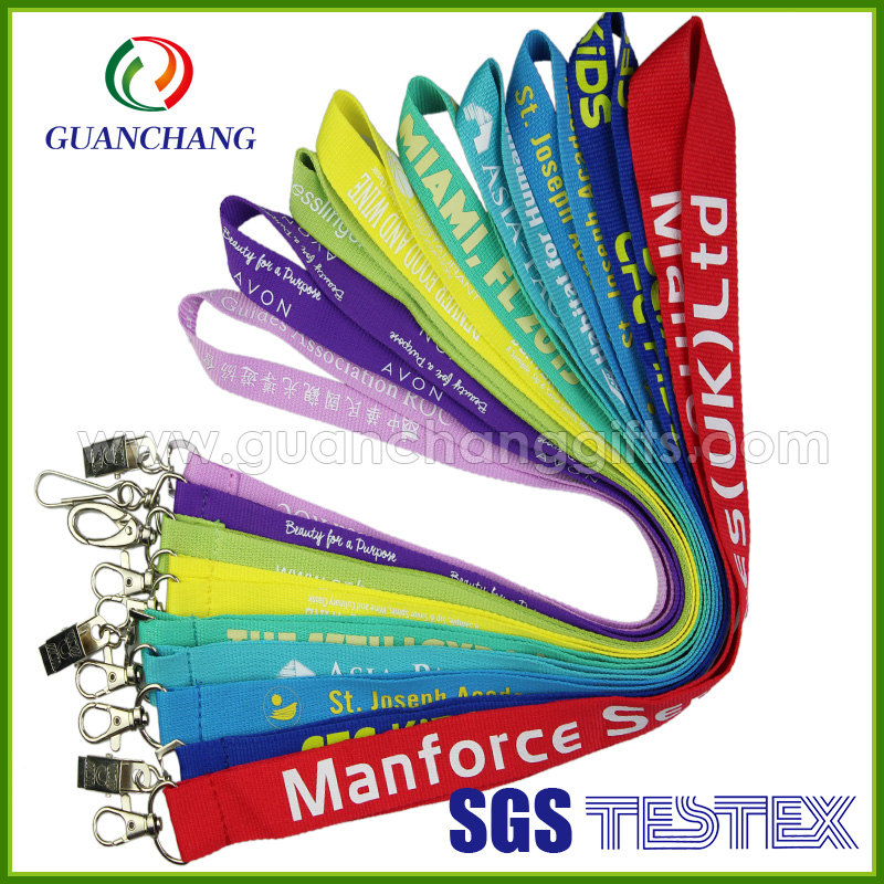 China supplier personize nylon or polyester screen printing id lanyard with silk screen prints