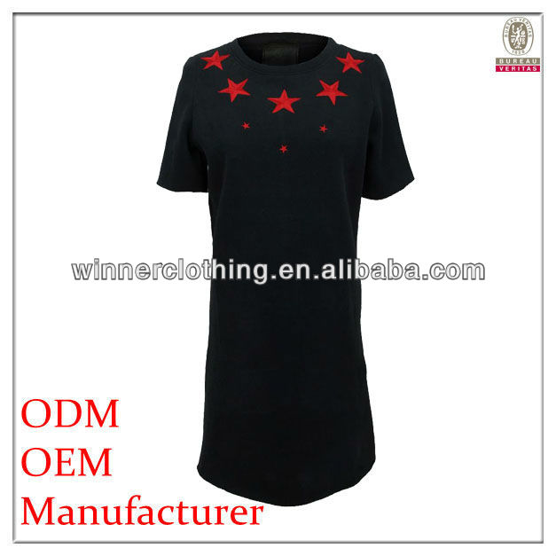 lady casual red star print short sleeve round neck plus size black dresses for fat lady