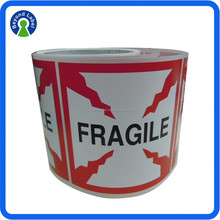 OEM Best Price Custom Self Adhesive Shipping Box Label Fragile Warning Sticker