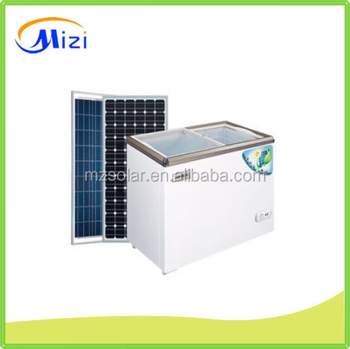 Solar energy powered deep chest glass top display freezer