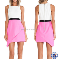 Wholesale white pink color combinations of fashion contrast color fashion dresses