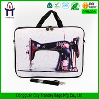Protective case sewing machine printing neoprene laptop bag vintage laptop sleeve 15''