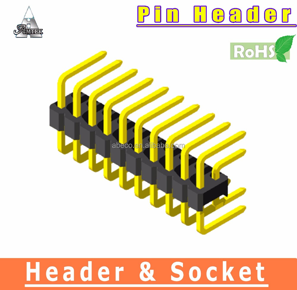 Gold Plated 2.54mm pin connector 6 Pin header