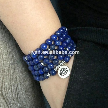SN1303 5 wraps Lapis Lazuli Beaded Bracelet Yoga Lotus Buddha Charm Wrist 108 Mala Beads Anxiety Relief Healing OM bracelet Men