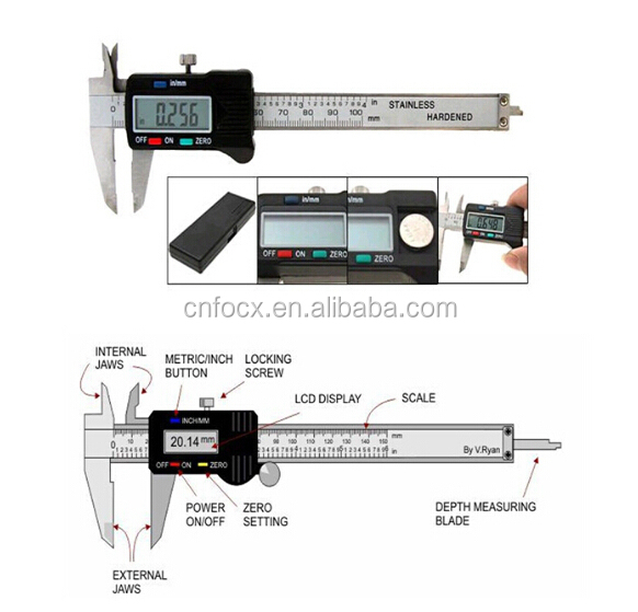 LCD Digital Electronic Gauge Stainless Steel Vernier Caliper / digital vernier caliper 150mm / Micrometer