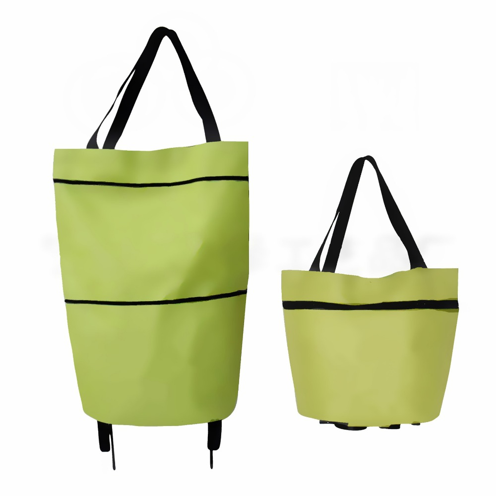 polyester foldable wheeled market trolley bag for shopping