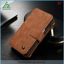 High-end Wallet Functional Leather Phone Case For Samsung S7/S7 Edge/ For iPhone 6/6 Plus Genuine Leather