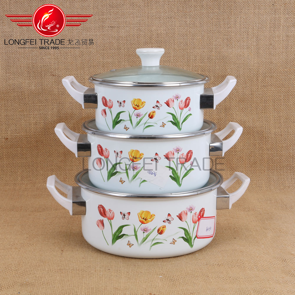 3pcs New design white decal Enamel Cookware set high quality China Style Pan &pot