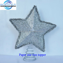 Vintage silver glitter & tinsel decorated lucky Christmas star ornament tree topper from worthbuy