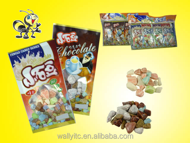 High Quality Stone Chocolate Milk Hard Chewy Candy /Yoghourt Stone Chewing Candy
