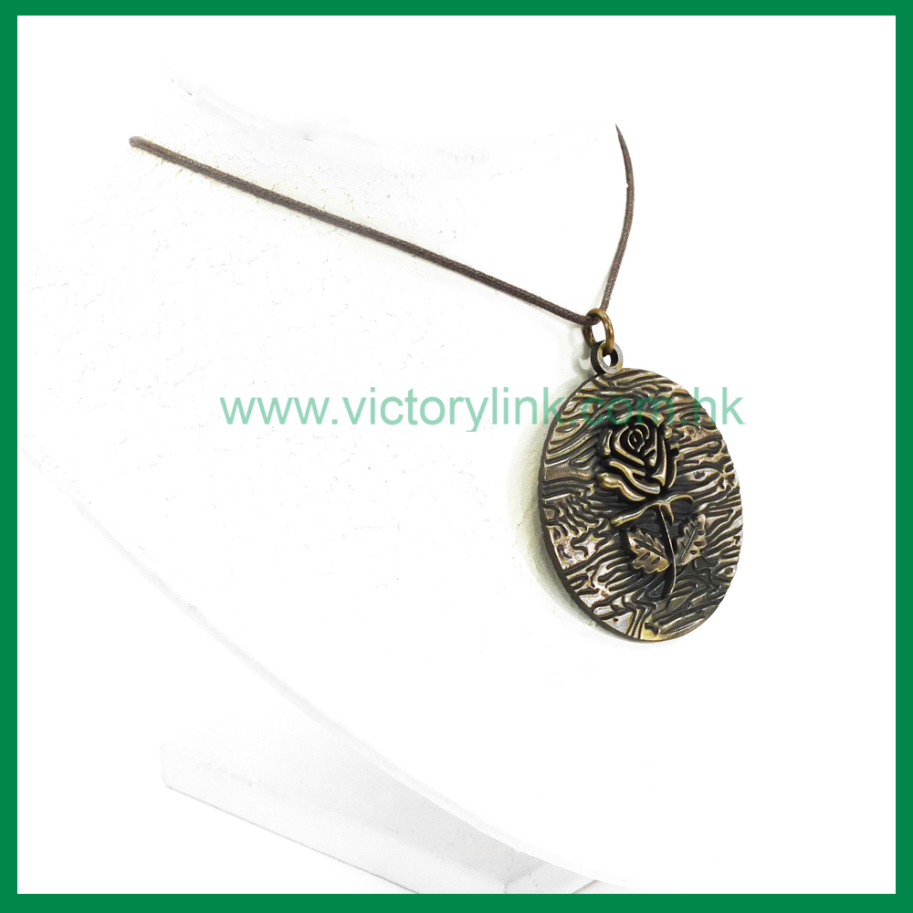 Embossed Rose Pendant Antique Necklace