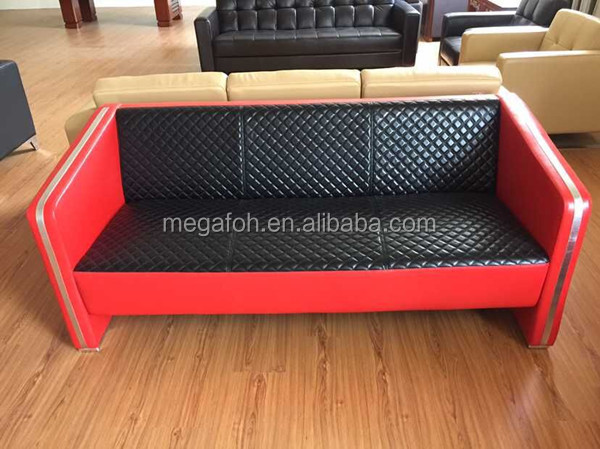 High quality red and black leather sofa couch office reception sofas(FOH-1437)