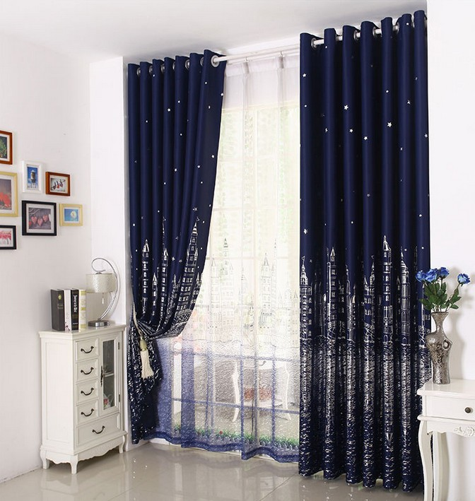 UNIKEA 1-Pieces Navy Castle Printed Kids Blackout Curtains For Bedroom Window Curtain Customizable Machine Washable