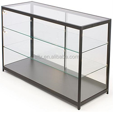 Stretch hexagonal metal aluminum framed glass tower display case with light