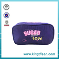 Promotional custom logo garment fabric purple zipper pencil bag