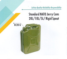 "20L 5 Gallon Steel Gas Fuel Tank NATO Style Jerry Can With Nozzle Spout & Petrol Tight [Military Green, 18.5"" (L) x 14"" (W) x 6."