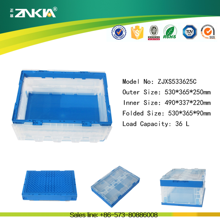 Stackable and collapsible recycling plastic foldable crate