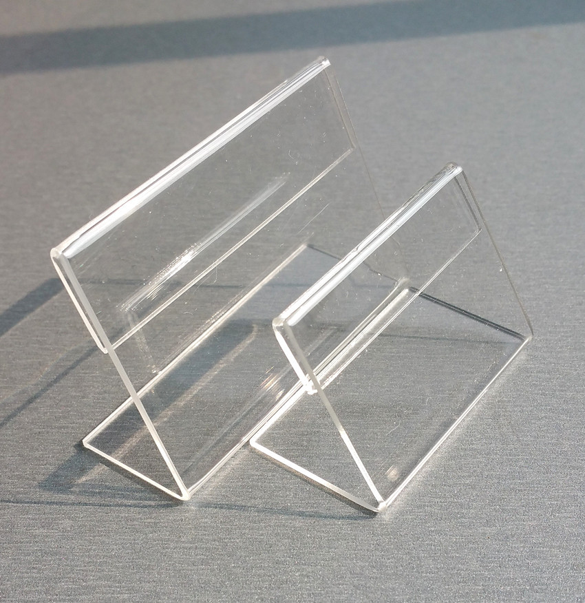 Acrylic T1.3mm Clear Small L Shape Plastic Table Sign Price Tag Label Display Paper Promotion Card Holders Stands 50pcs