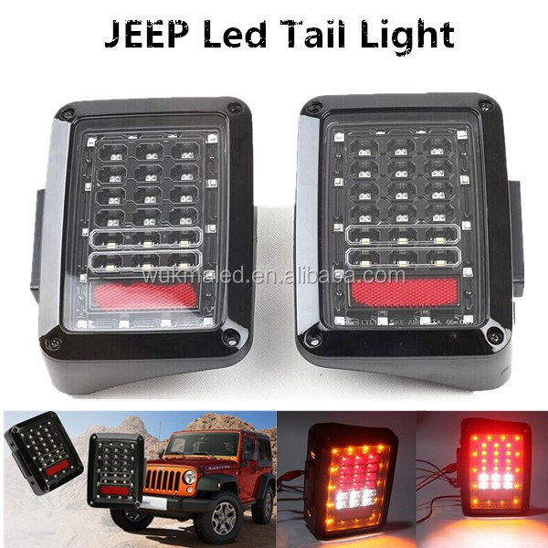 LED Black Taillight Replacement Rear Brake Lamps For 2007-2014 Jeep Wrangler
