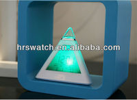 Promotional pyramid shape led light alarm clock