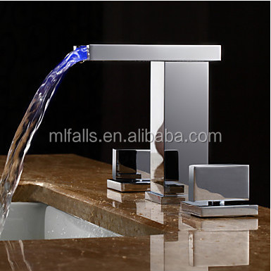 New 3-hole color changing led faucets bathroom sink faucet