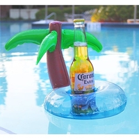 In stock swimming poor Inflatable drink holder Coconut Tree Shaped Floating Drink Holder phone holder, Size: 21 x 21 x 22cm