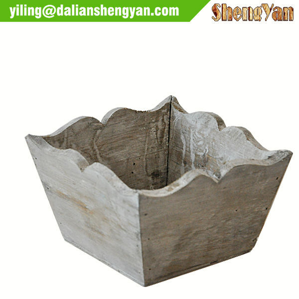 Rustic Wood Flower Pot/Garden Box Wooden Garden Decoration