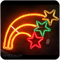 New type 2D outdoor wire frame led christmas star rope light motif