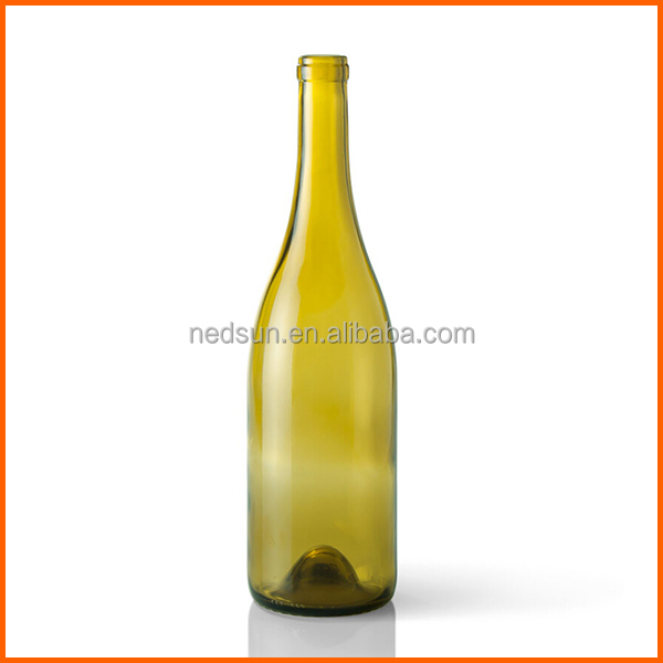 Round wholesale yellow 750ml wine glass bottle