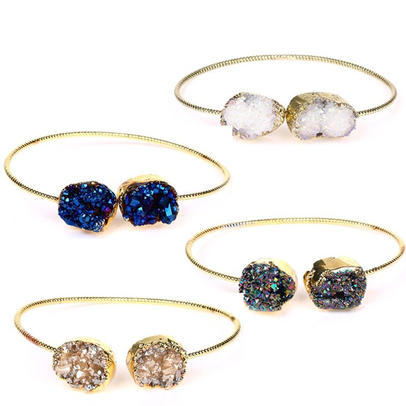 Wholesale China Fashion Gemstones and Crystals Druzy 24k Gold Plated Bracelet Jewelry, 2017 Hot Selling Bangles