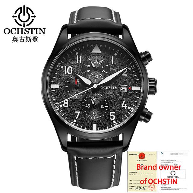 OCHSTIN Quartz Watch 3ATM Water Resistant Fashion Analog Men's Watch Luxury Genuine Leather Strap Trendy Man Wristwatch