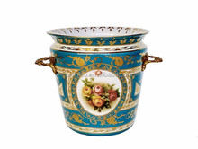 Antique Brass Decorative Ceramic Bucket With Handles, Hand Painted Porcelain & Bronze Planter, Decor Ceramics Furnishing Article