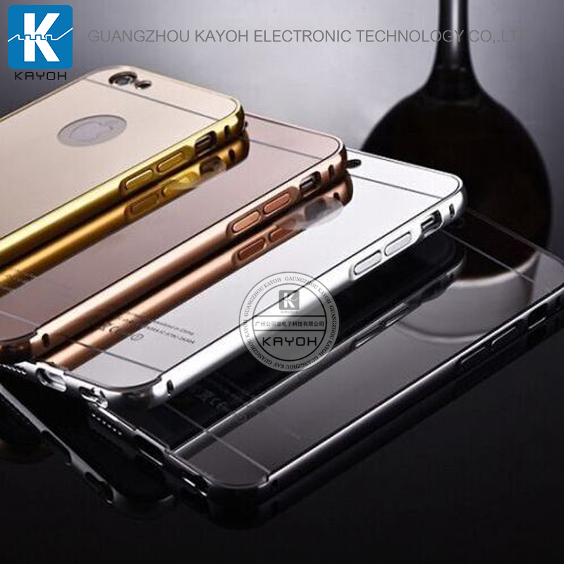 [kayoh] For iphone 6s aluminum bumper mirror back case, luxury metal bumper mirror case for iphone 6s