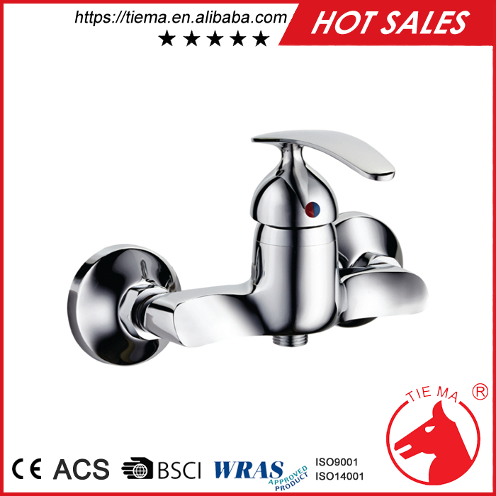 Chromed brass temperature control shower faucet