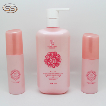 Empty golden pump plastic pet bottles for cosmetic