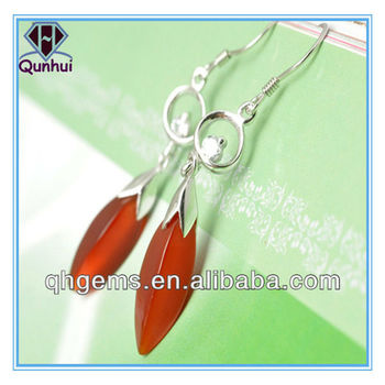 Special red irregular shaped cz earrings