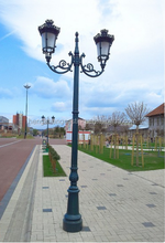 Botou Double Heads Aluminum Street Lamp Pole
